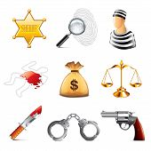 crime And Law Icons Vector Set