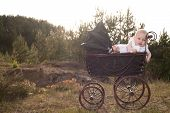 Baby In Pram With Sunset