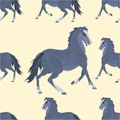 Seamless  Texture Black Horse Vector