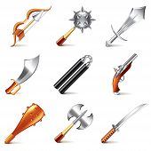 stock photo of saber  - Old weapons for games icons photo - JPG
