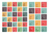 Flat Alphabet A-z Icons Set With Long Shadow
