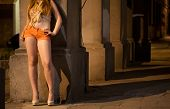 stock photo of hooker  - Woman working as a prostitute at night