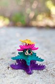 Rings On Starfishes In Tropic Paradise. Wedding Vacation Concept