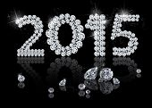 stock photo of jewelry  - Brilliant New Year 2015 is a diamond jewelry illustration on a black background - JPG
