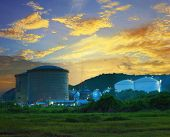 Landscape Of Construction Site  Oil Storage Tank In Refinery  Petrochemical Industry Plant Against B