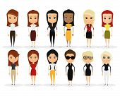a set of different women on a white background