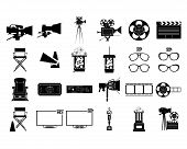 a set of black silhouettes of cinema related elements