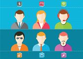 Постер, плакат: Business Set Of Stylish Avatars Of Woman Girls And Man Guys