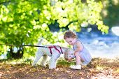 stock photo of baby dog  - Adorable Little Baby Girl Playing With A Poodle Dog On A River Shore In A Park On A Sunny Summer Day - JPG