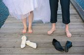 stock photo of big-foot  - Front view of wedding couple - JPG