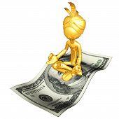 Gold Guy Djinn On Money Magic Carpet