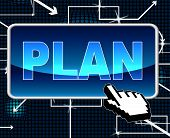 Plan Button Means Project Programme And Web