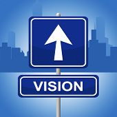 Vision Sign Shows Planning Advertisement And Goal