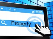 Online Property Represents World Wide Web And House