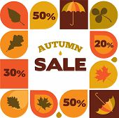 autumn sale illustration with seasonal icons and discount