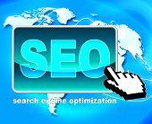 Seo Button Represents World Wide Web And Optimization