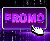 Promo Button Means World Wide Web And Network