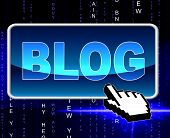 Blog Button Means World Wide Web And Searching