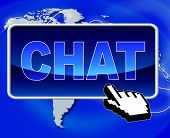 Chat Button Represents World Wide Web And Telephone