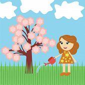nice girl watering tree with flowers