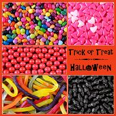 Happy Halloween Trick Or Treat Candy Collage With Sample Text.