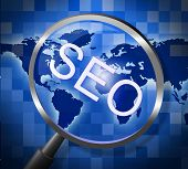 Seo Magnifier Indicates Websites Searching And Web
