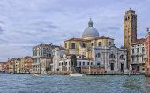 foto of labia  - Beautiful view on the Grand Canal of the Palazzo Labia and Church of San Geremia during morning in Venice Italy - JPG