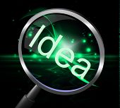Idea Magnifier Shows Magnifying Ideas And Invention
