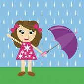 Cartoon girl with umbrella