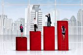 Businesspeople Standing On Financial Chart