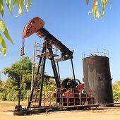 Oil Pump Jack (Sucker Rod Beam) on Sunny Day