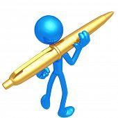 Holding A Golden Pen