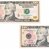 Ten Dollars Isolated On White Background