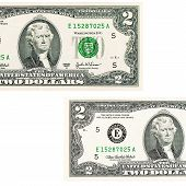 picture of two dollar bill  - The two dollars isolated on white background - JPG
