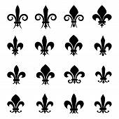 Set of 16 different Fleur De Lis symbols