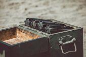 Open ammunition box