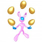 Easter Bunny Juggling Golden Easter Eggs