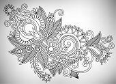Hand draw line art ornate flower design. Ukrainian traditional s
