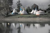Tent village at the lake