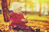 pic of little young child children girl toddler  - happy little child baby girl laughing and playing in the autumn on the nature walk outdoors - JPG