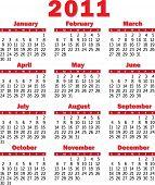 Calendário 2011 vermelho