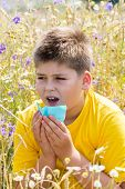 image of rhinitis  - Boy with allergic rhinitis in the meadow - JPG