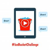 image of bucket  - ALS ice bucket challenge concept with flat tablet and bucket with ice on its screen - JPG