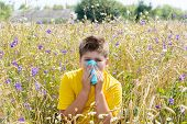 stock photo of rhinitis  - Boy with allergic rhinitis in the meadow - JPG