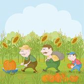 Farmers with the harvest of pumpkins