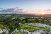 Sunrise On Helman Tor In Cornwall