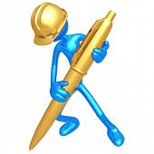 Construction Worker With Gold Pen