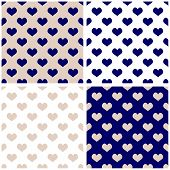 Tile vector background hearts set