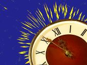 Eve Of New Year.dial Of Hours And Fireworks On Blue Background.