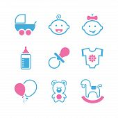 Baby simple vector icon set